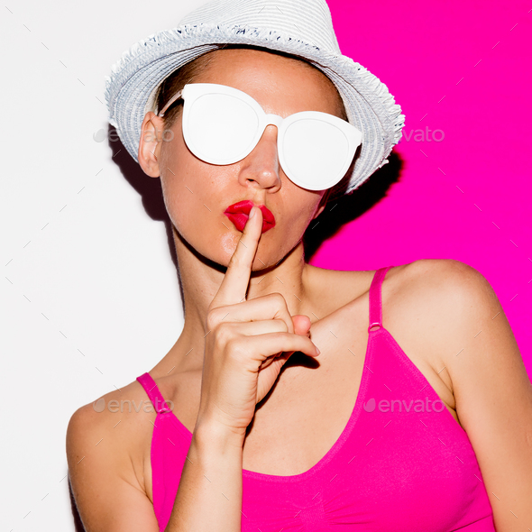 Secret Girl in sunglasses and hat. Minimal pop art style - Stock Photo - Images