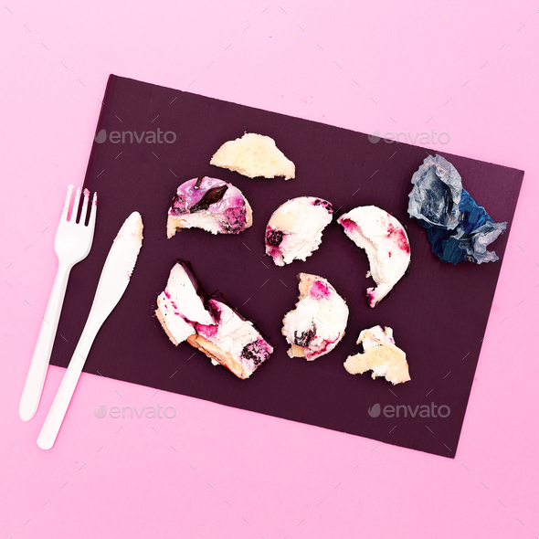 Mini Cake Destroyed Creative minimal fast food style - Stock Photo - Images