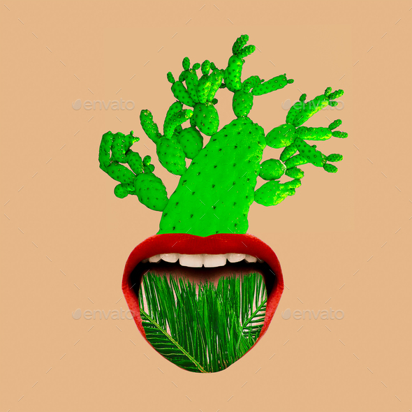 Contemporary art collage tropical mood. Mouth and green. Cactus - Stock Photo - Images