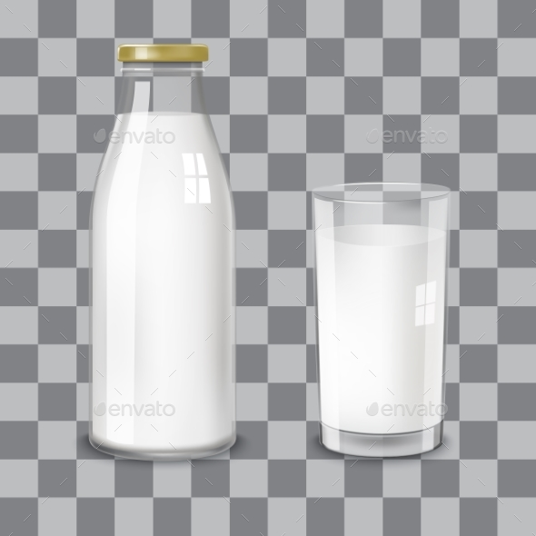 Transparent Glass Bottle and a Glass of Milk - Food Objects