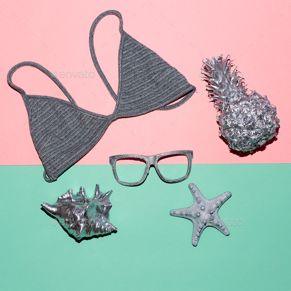 Swimsuit top and glasses Summer Vacation time - Stock Photo - Images
