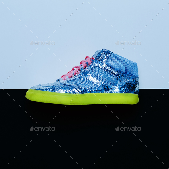 Disco style. Trendy sneakers. minimal design - Stock Photo - Images