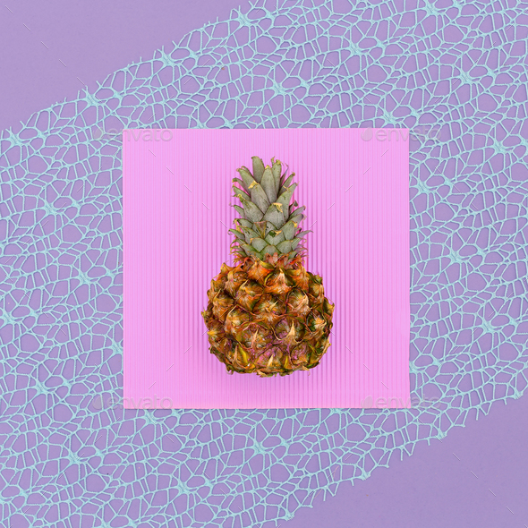 Mini pineapple fashion Geometry Minimal art design Candy Colors - Stock Photo - Images