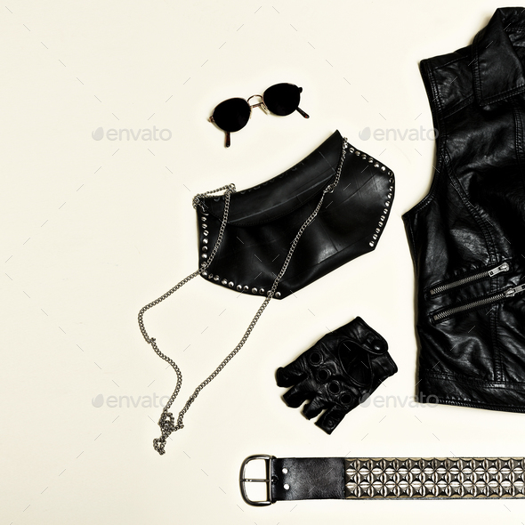 Black fashion set. Backpack Black Vest and black accessories. Gl - Stock Photo - Images