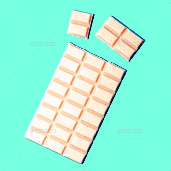 White chocolate tile. Minimal art design - Stock Photo - Images