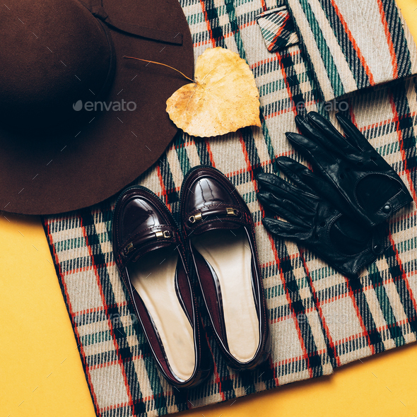 checkered Coat and accessories. Fashionable shoes and gloves. Fa - Stock Photo - Images