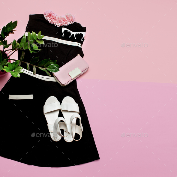 Stylish female clothes set.Retro dress and accessories. Vintage - Stock Photo - Images