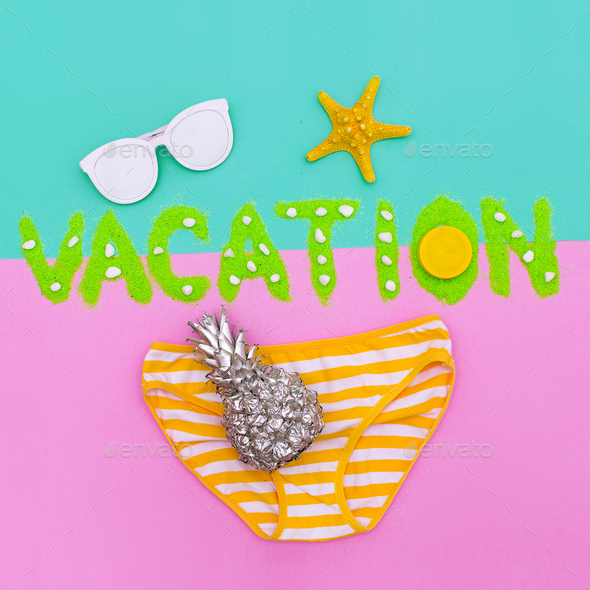 Tropical Beach Vacation Minimal set fashion art - Stock Photo - Images