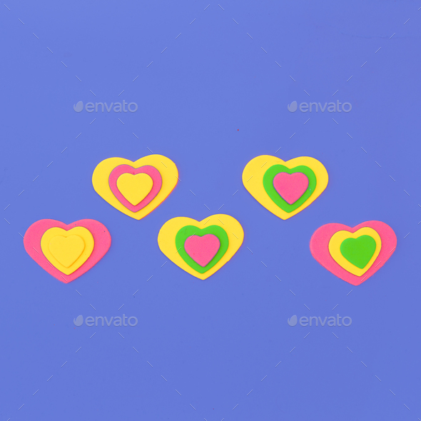 Mini hearts. Emotions. Candy Color Fashion minimal art - Stock Photo - Images