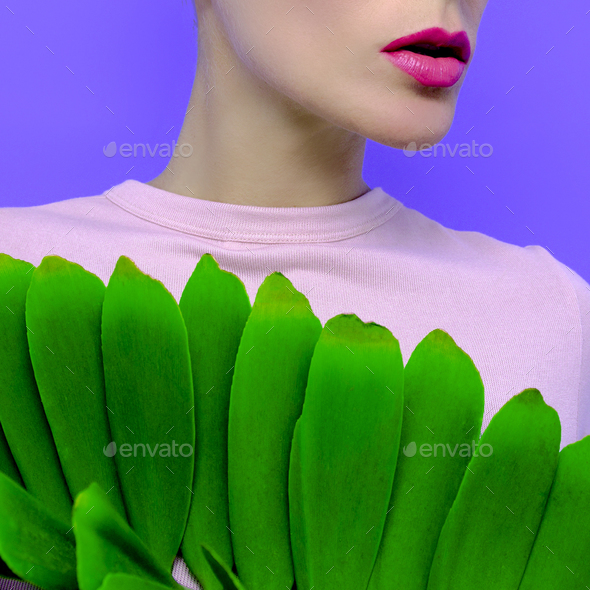 Sensual model with  green leaf. Fashion Concept. Cosmetics. Care - Stock Photo - Images