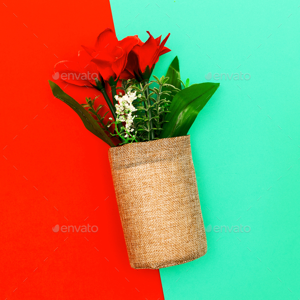 Decorative flowers. Minimal art style - Stock Photo - Images