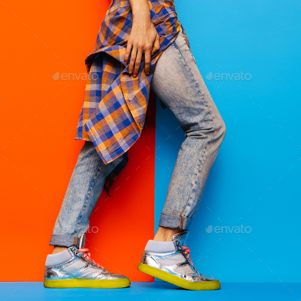 Urban Denim Style fashion jeans plaid shirt Minimal Design - Stock Photo - Images