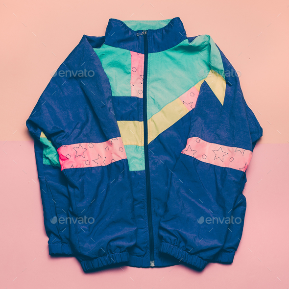 Vintage sports jacket Fashion blogger help Top view - Stock Photo - Images
