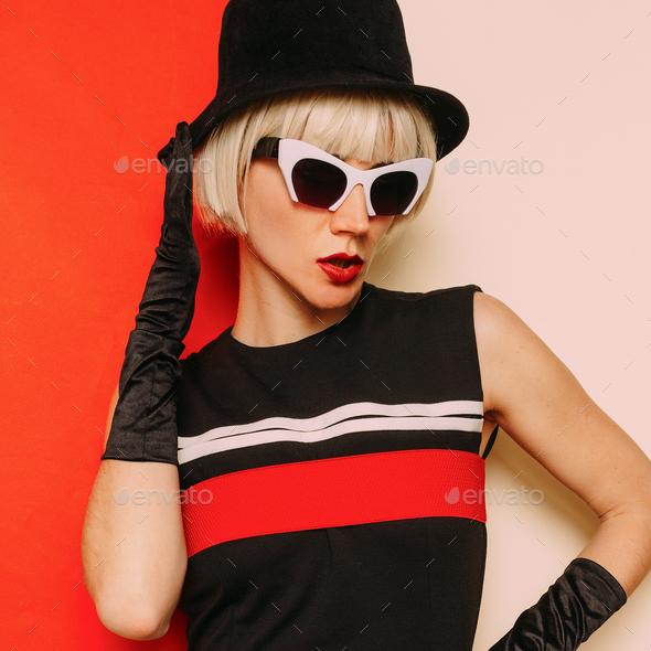 Lady Retro Style Cabaret vintage clothing. Minimal Fashion. Stri - Stock Photo - Images