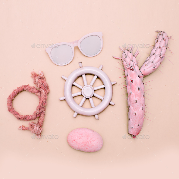 Sea, beach, summer mood. Minimal art set - Stock Photo - Images