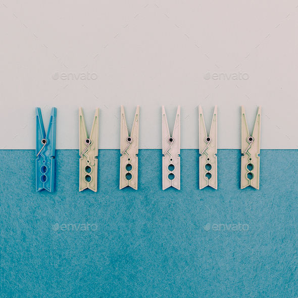 Set of vintage clothespins.minimal art style - Stock Photo - Images