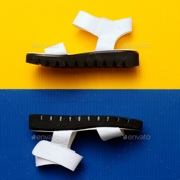 White Sandals. Minimal summer style - Stock Photo - Images