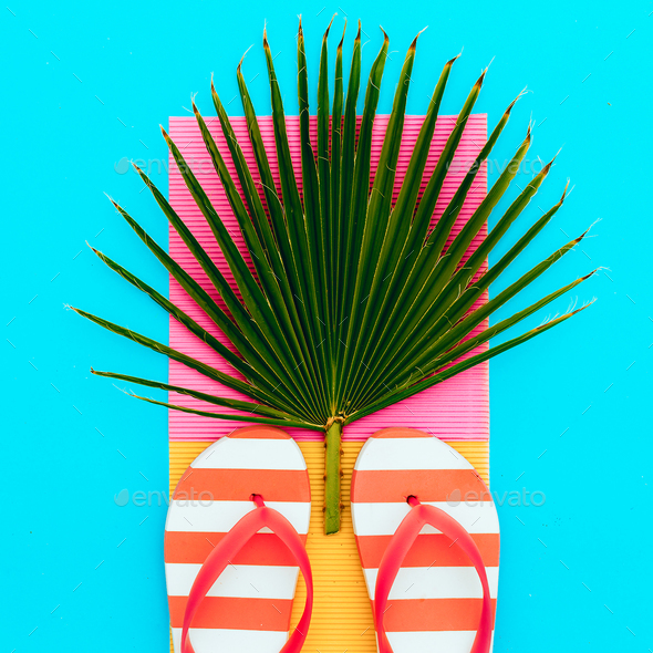 Flip-flop and palm. Tropical set. - Stock Photo - Images