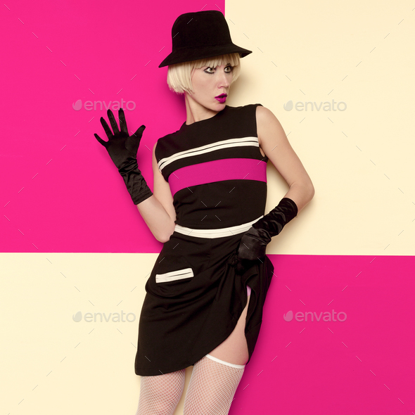 Lady Retro Style Art Cabaret vintage clothing. Minimal Fashion. - Stock Photo - Images