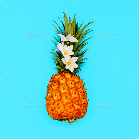 Tropical beach mood. Minimal style Pineapple art - Stock Photo - Images