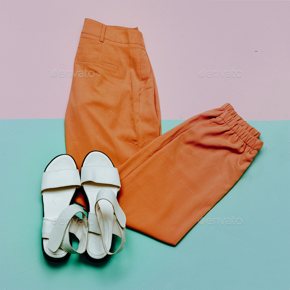 Trousers and sandals. Summer outfit - Stock Photo - Images