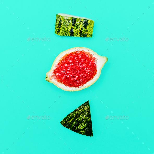 Positive fresh mood. Stillife Minimal Citrus Watermelon art - Stock Photo - Images