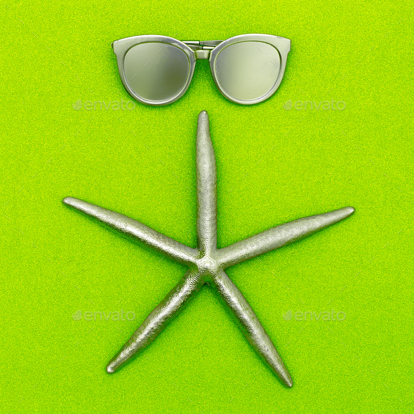 Starfish and sunglasses. Silver. Minimal art - Stock Photo - Images
