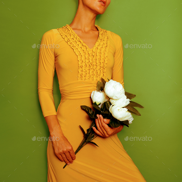 Model in a stylish vintage dress. Retro chic - Stock Photo - Images