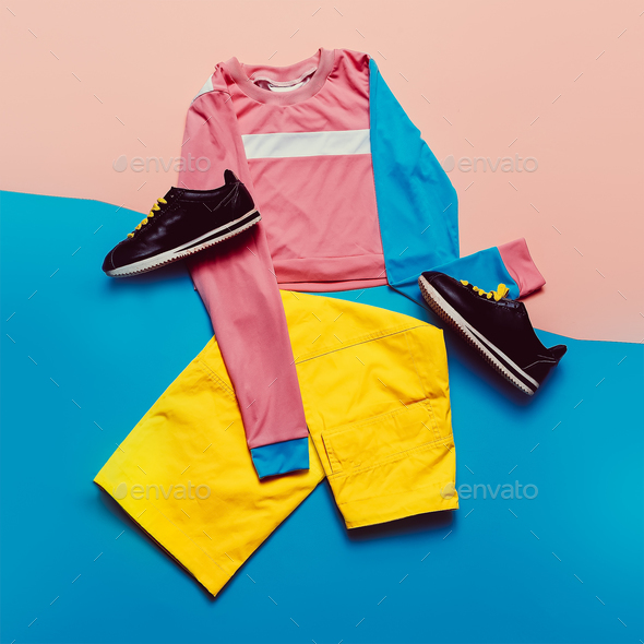 Stylish sports blouse and pants. Pastel trend. Fashion Accessori - Stock Photo - Images