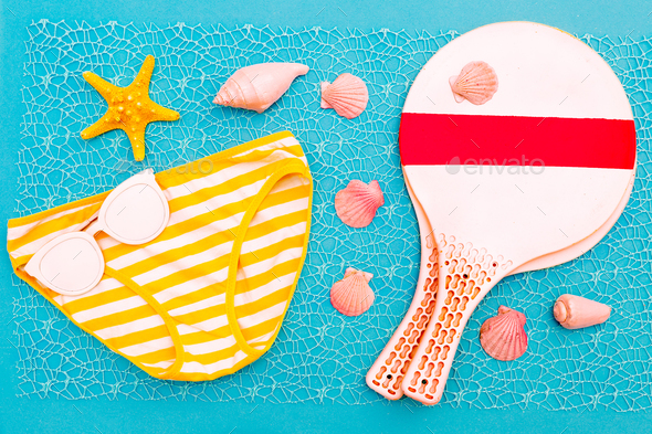 Beach Time. Beach badminton. Vacation set minimal design - Stock Photo - Images