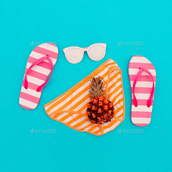 Beach Style. Beach accessories. Minimal - Stock Photo - Images