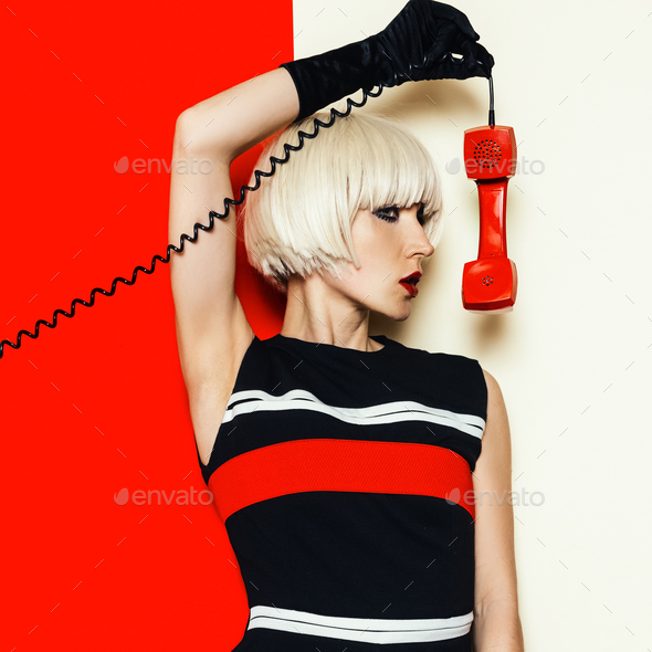 Blonde model retro style with vintage telephone Minimal Fashion - Stock Photo - Images
