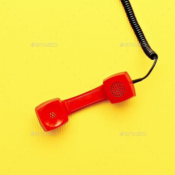 Minimal art design Vintage red phone - Stock Photo - Images