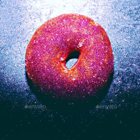 Glitter Donut Fashion Shining fast food concept Minimal Design - Stock Photo - Images