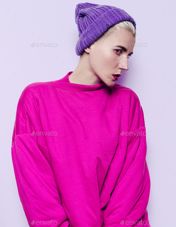Hipster Girl style, Cap, Sport, Girl, Hoodie  Swag style, fashio - Stock Photo - Images