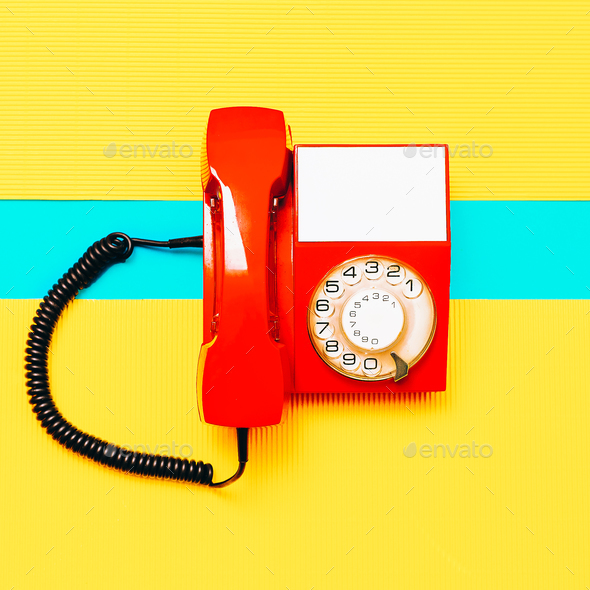 Retro Red Phone. Minimal art design Vintage vibes - Stock Photo - Images
