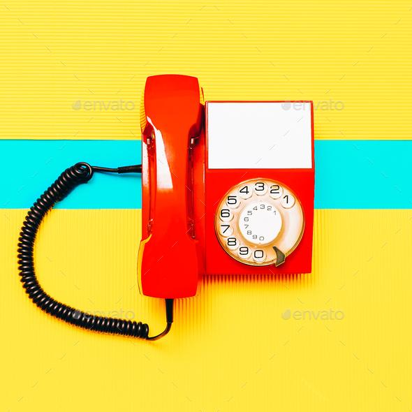 Retro Red Phone. Minimal art design Vintage vibes - Stock Photo - Images