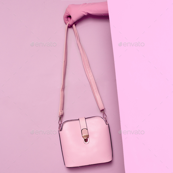 Stylish clothes. Minimal fashion. Pink Lady's bag for summer. Wa - Stock Photo - Images