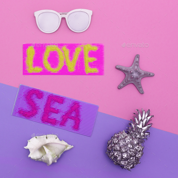 Love Sea Vibes set Minimal style art - Stock Photo - Images