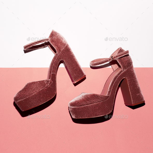 Stylish suede shoes. High heel. Top view - Stock Photo - Images