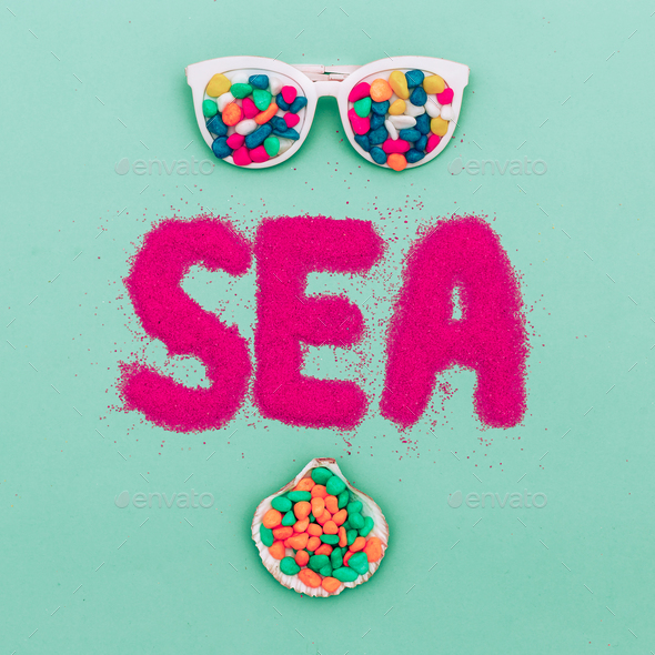 Minimal art. Summer time Holiday Sunglasses fashion Beach mood - Stock Photo - Images