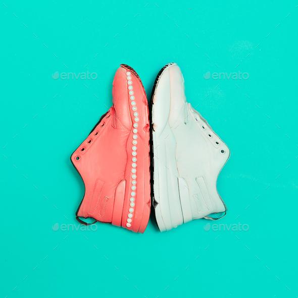 Sneakers on the platform. Minimal design art - Stock Photo - Images