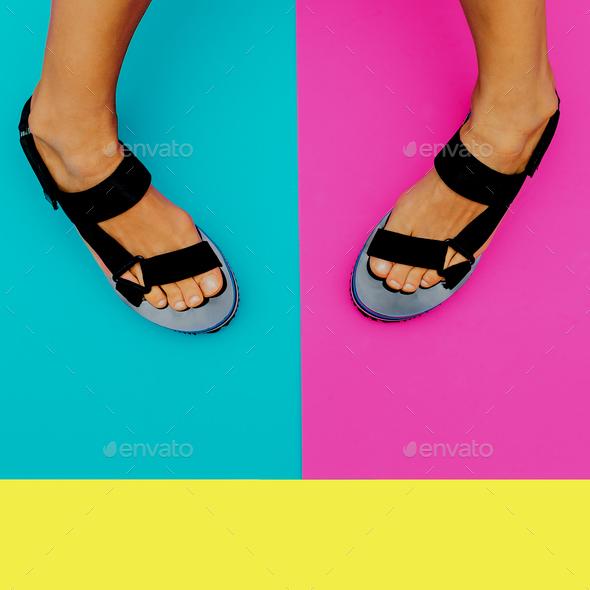 Platform summer trend. Stylish shoes for Lady - Stock Photo - Images