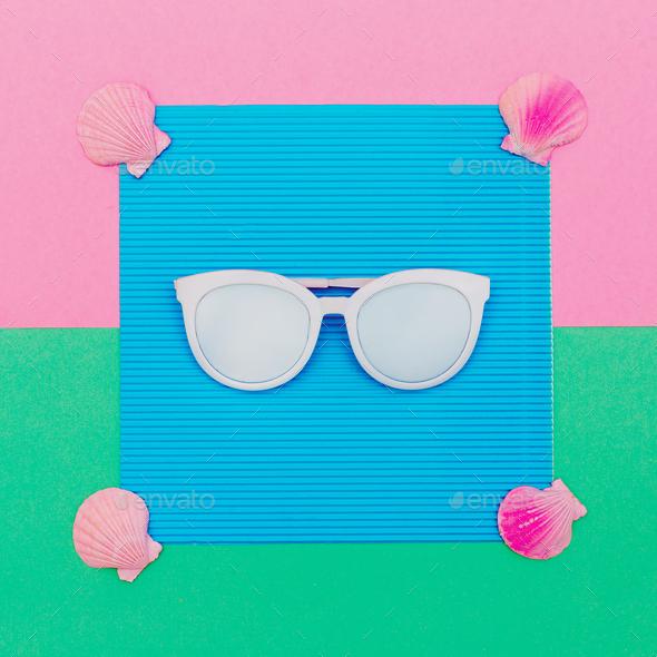 Sunglasses and seashells. Sea mood Minimal art - Stock Photo - Images