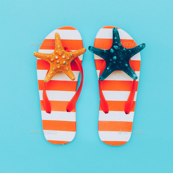 Flip-flops Vacation. Summer. Minimal beach style - Stock Photo - Images