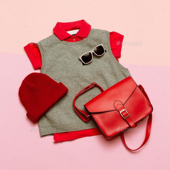 Stylish clothes set. City casual fashion. Spring. Stylish access - Stock Photo - Images