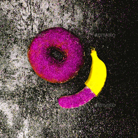 Glitter couple Banana and Donut Minimal surreal design Shining f - Stock Photo - Images
