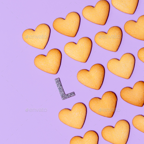 Love Cookies Minimal art design Candy colors - Stock Photo - Images