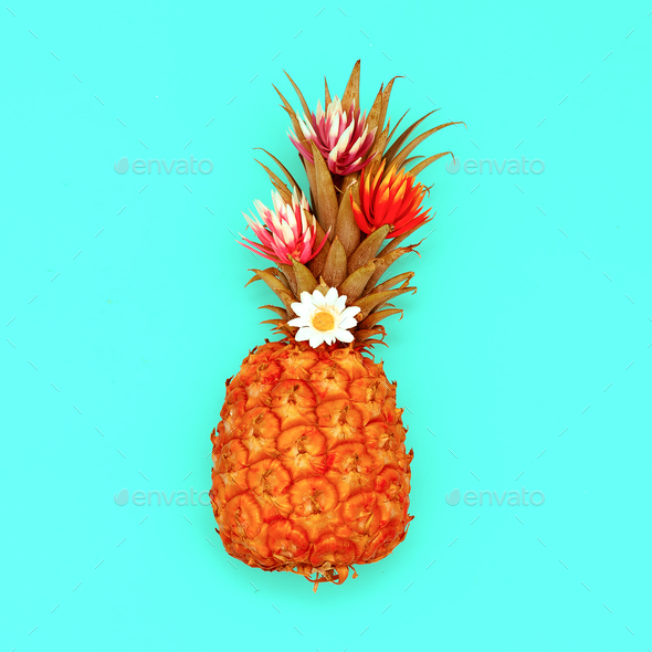 Pineapple and flowers. Tropical cocktail. Minimal style - Stock Photo - Images