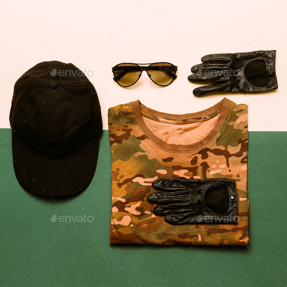 Clothing Set Military style fashion Soldier Outfit Details - Stock Photo - Images